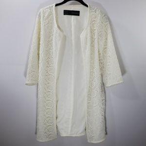 Zara Basic White Lace Open Front Long Cardigan XS